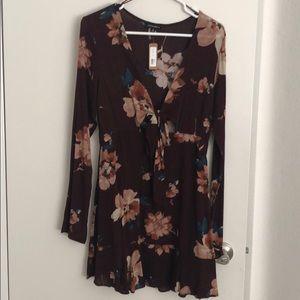 Open front long sleeve dress
